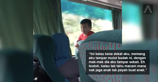 video budak biadap ludah penumpang bas dikecam