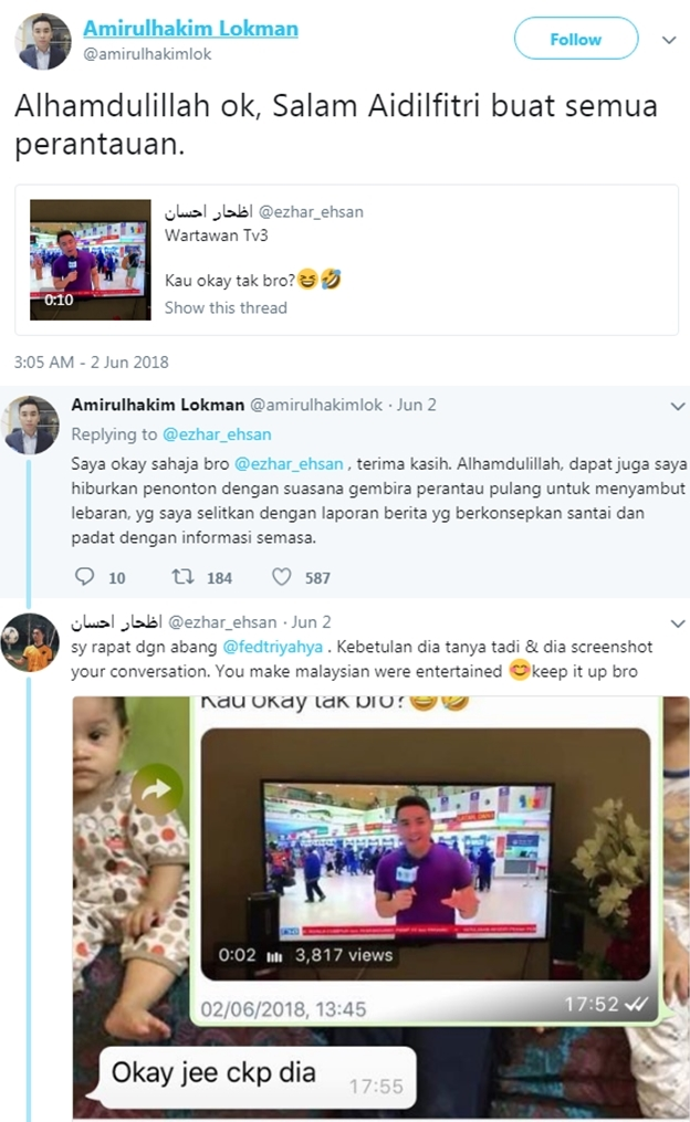 wartawan tv3 menyanyi lagu raya ketika liputan secara langsung dihentam bekas pembaca berita 2