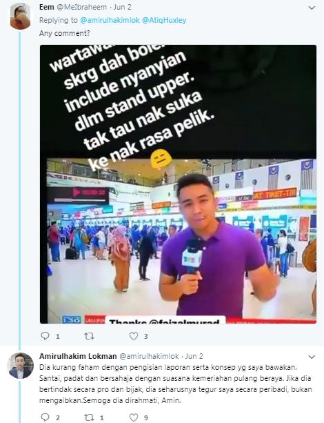 wartawan tv3 menyanyi lagu raya ketika liputan secara langsung dihentam bekas pembaca berita 3