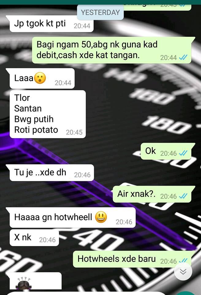 whatsapp mazley bersama isterinya yang turut meminati hotwheels