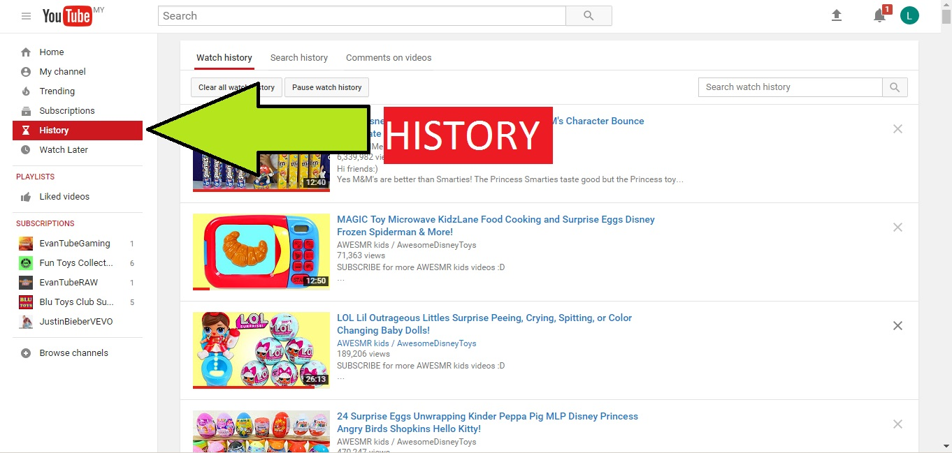 youtube history pantau anak